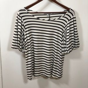 Green envelope black and white stripe top